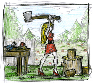 Red Ridinghood Chopping Wood, Sketch, Gair Cook, Cook Creative Media, Flp, (c)